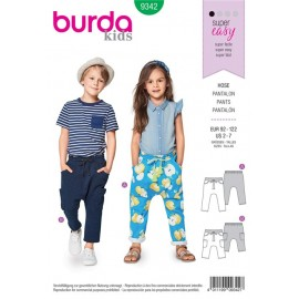 Sewing pattern Elastic Waist Trousers/Pants without a Center Seam – Low Crotch – Hip Yoke Pockets Burda N°9342