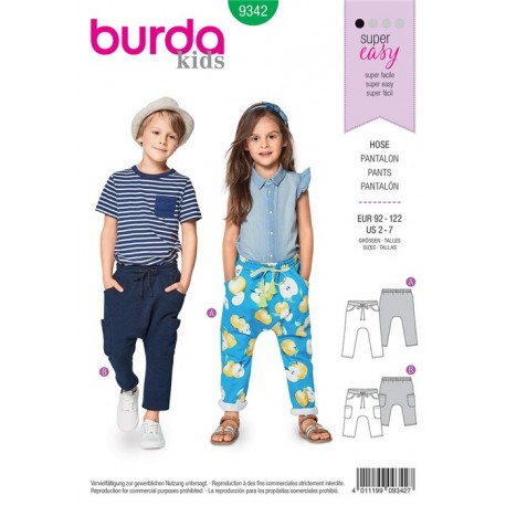Patron Pantalon à coulisse élastiquée sans couture milieu – entrejambe bas – poches sur empiècements de hanche Burda N°9342