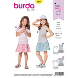 Patron Robe à bretelles – robe façon tee-shirt – jupe montée au-dessous de la taille Burda N°9341