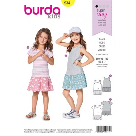 Burda sewing pattern Strap Dress – Shirt Dress - Low Set Skirt Burda N°9341