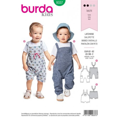 Sewing pattern Bibbed Trousers/Pants with Elastic Casing – Stretch Straps – Leg Bands Burda N°9337