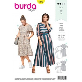Sewing pattern Summer Dress with Elastic Casing – Cut-Out-Sleeves – Wing Sleeves Burda N°6449