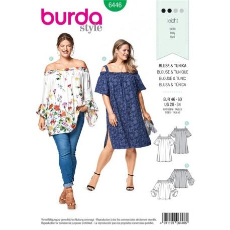 Sewing pattern Blouse, Tunic Top – Shirred Neckline, Sleeve Frills Burda N°6446