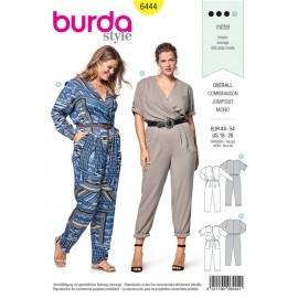 Sewing pattern Jumpsuit – Elastic Casing at the Waist, Wrap Look Top with Pleats Burda N°6444