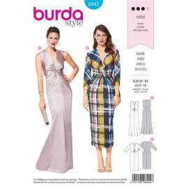Patron  Robe stretch – robe de soirée – entortillement devant Burda N°6442