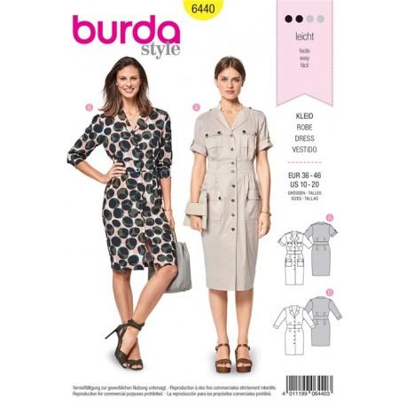 Patron Robe – robe chemise – robe safari Burda N°6440