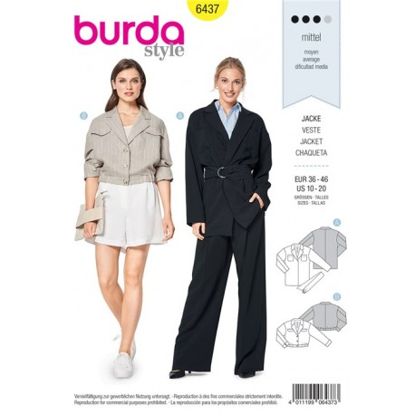 Sewing pattern Jacket – Blouson Jacket – Oversize Burda N°6437