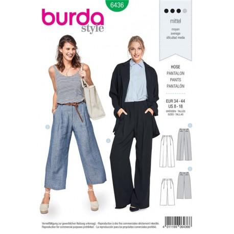 Patron Pantalon – culotte longue – jambes larges Burda N°6436