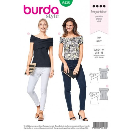 Sewing pattern Top – Strapless with Draped Shoulder Burda N°6435