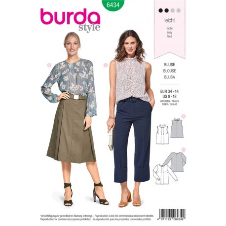 Sewing pattern Blouse – Neckline Pleats Burda N°6434