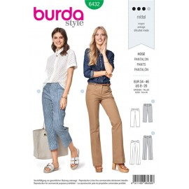 Patron Pantalon – pantalon 7/8  – jambes évasées  Burda N°6432