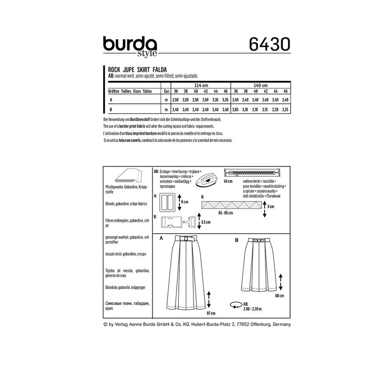 Style Burda Burda FemmesPatron Burda N°6430 Jupe N°6430 FemmesPatron Jupe Style pMSUzV