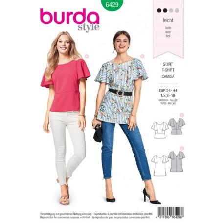 Patron T-shirt – manches cloche – avec un décolleté dans le dos Burda N°6429