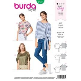 Patron T-shirt – manches nouées – encolure ronde Burda N°6427