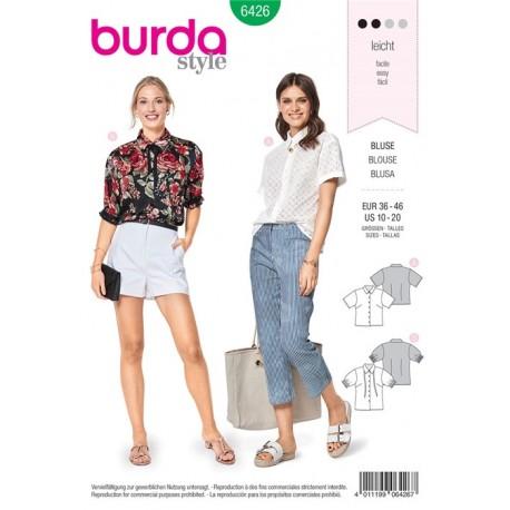 Sewing pattern Short Sleeved Blouse – Shirt Blouse Collar Burda N°6426