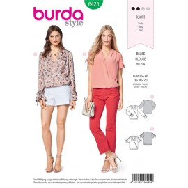 Sewing pattern Wrap Blouse – Gathered Sleeves with Drawstring Casing  Burda N°6425