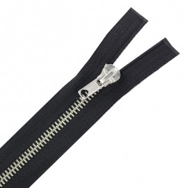 Silver metal zipper - black