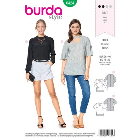 Sewing pattern Blouse with Neckline Band – V-Neck – Lace Insert Burda N°6424