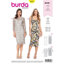 Patron Robe à bretelles – robe en dentelle à manches  3/4  Burda N°6423