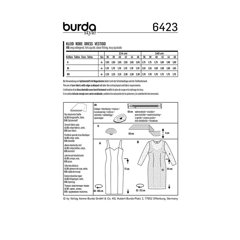 Burda Style Women Dress Sewing Patterns: Burda n°6423