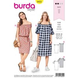 Sewing pattern Youthful Dress – Carmen Neckline with Elastic Shirring Burda N°6422