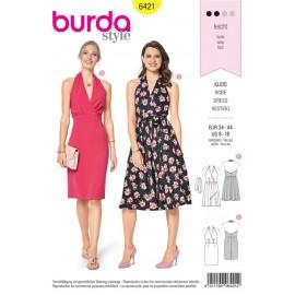 Sewing pattern Halterneck Dress– Cocktail Dress – Backless  Burda N°6421