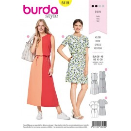Patron Robe – colour block – taille coulissée  Burda N°6419