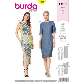 Patron Robe fourreau – encolure ronde – coutures de découpe Burda N°6418