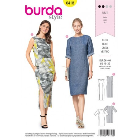 Burda Style Women Dress Sewing Patterns: Burda n°6418