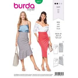 Patron Jupe en jersey – sans fermeture – à taille haute et des plis latéraux en forme d'éventail Burda N°6417