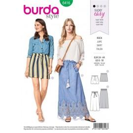Patron Burda Jupe – sans fermeture – avec des poches prises dans les coutures et une taille coulissée Burda N°6416