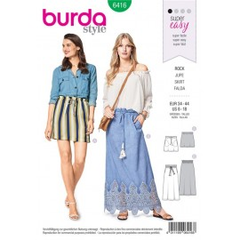 Sewing pattern Skirt – without Fastening – In-seam Pockets and a Waist Casing Burda N°6416