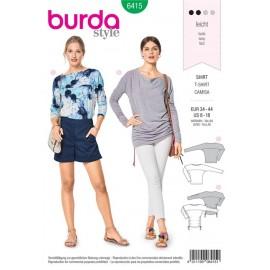 Patron T-shirt – encolure bâteau – manches chauve-souris Burda N°6415