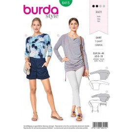 Sewing pattern Top – Scooped Neckline – Batwing Sleeves Burda N°6415