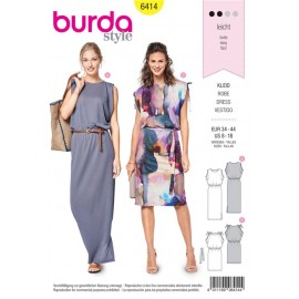Sewing pattern Jersey Dress – Sleeveless with Elastic Casing Burda N°6414