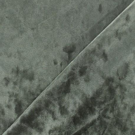 Tissu velours frappé sur jersey - argent x 10cm