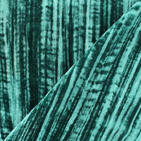 Tissu velours Froissé - émeraude x 10cm