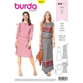 Sewing pattern Dress – Scooped Neckline –  Elastic Casing at the Waist Burda N°6413