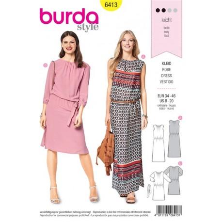 Sewing pattern Dress – Scooped Neckline –  Elastic Casing at the Waist Burda N°6413