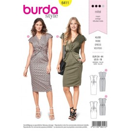 Sewing pattern Shirt Dress – V-Neckline – with Twist Burda N°6411