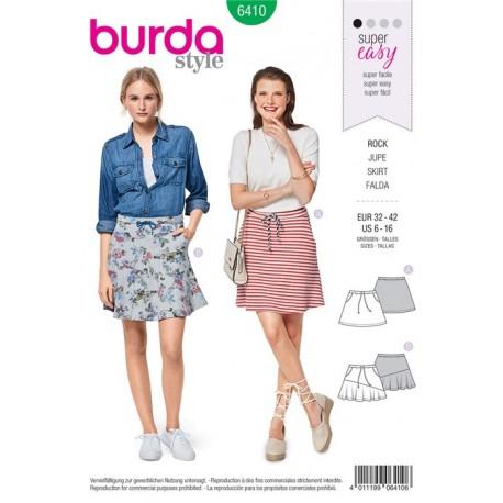 PatronJupe évasée – sans fermeture – à coulisse élastiquée Burda N°6410