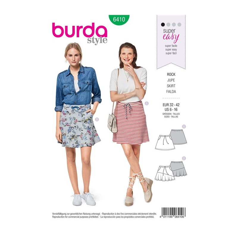 Burda Style Young Women Skirt Sewing Patterns: Burda n°6410
