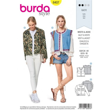 Patron Gilet avec galon, veste en look jean avec ruche Burda N°6407