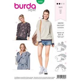 Patron Sweat-shirt avec bord-côte, capuche – tee-shirt volanté Burda N°6406