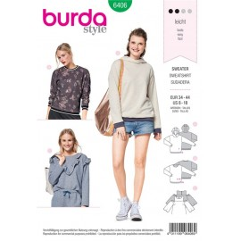 Sewing pattern Sweater with Rib Knit Bands, Hoodie – Top with Frills Burda N°6406