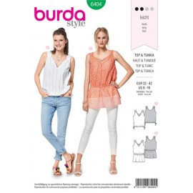 Sewing pattern Top – Tunic Top – Gathers – Drawstring Cord and Elastic Casing Burda N°6404