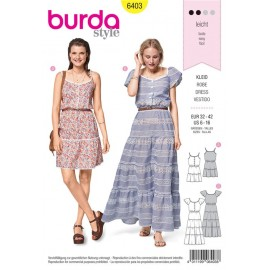 Sewing pattern Tiered Dress – Buttoned Top – Elastic Casing at the Waist Burda N°6403