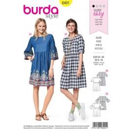 Sewing pattern Youthful Dress – Gathered Skirt – Wide Sleeves Burda N°6401