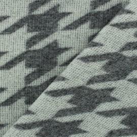 Tissu lainage Pied de poule - gris chiné/blanc x 10cm