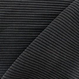 Tissu jersey maille Rayures uni - noir x 10cm